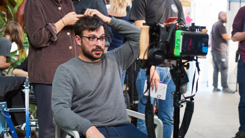 Simon Bird on set of his directorial debut 'Days of the Bagnold Summer'. (Credit: Altitude Films/Rob Baker Ashton)