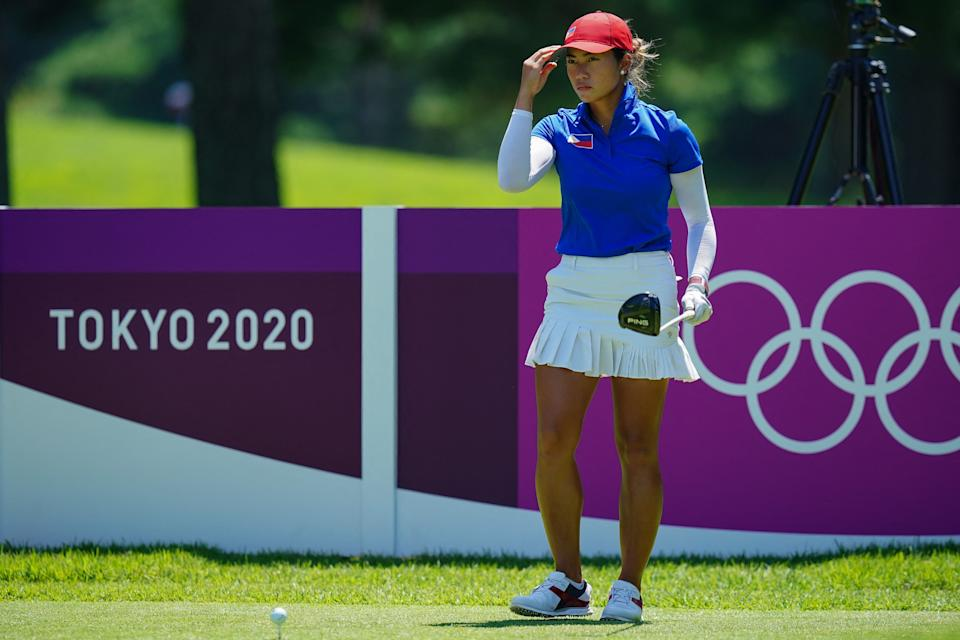 Philippines' Bianca Pagdanganan prepares to tee off from the 11th tee in round 2 of the womens golf individual stroke play during the Tokyo 2020 Olympic Games at the Kasumigaseki Country Club in Kawagoe on August 5, 2021. (Photo by YOSHI IWAMOTO / AFP) (Photo by YOSHI IWAMOTO/AFP via Getty Images)