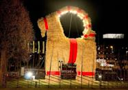 """<p>A giant straw sculpture of a <a href=""""https://www.npr.org/sections/thetwo-way/2016/11/30/503881528/swedish-revelers-get-their-goat-again-as-holiday-tradition-meets-annual-arson"""" rel=""""nofollow noopener"""" target=""""_blank"""" data-ylk=""""slk:Swedish Yule Goat"""" class=""""link rapid-noclick-resp"""">Swedish Yule Goat</a> is created each year in Gävle, Sweden at the start of the holiday season. According to local folklore, the Yule goat is an invisible spirit who oversees people's Christmas preparations. It has also become a bit of a tradition for vandals to try and destroy the Gävle Goat throughout the month. The have succeeded 37 times since the first Gävle Goat appeared in 1966.</p>"""