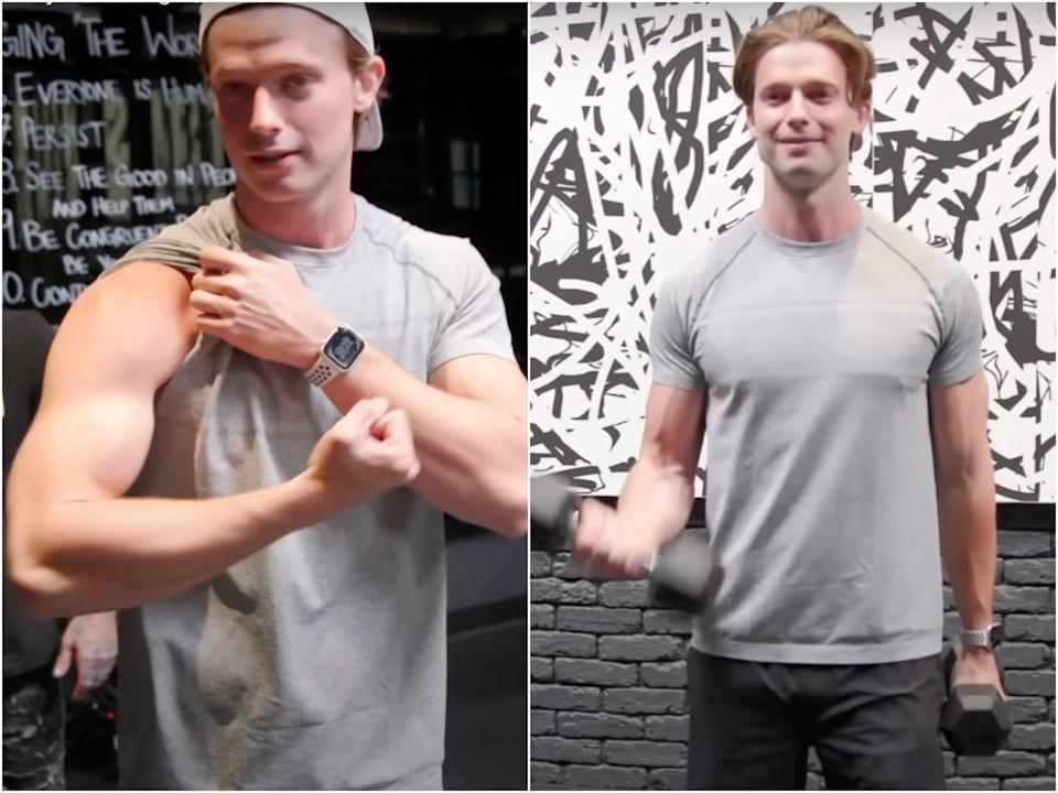 Patrick Schwarzenegger working out in his gym