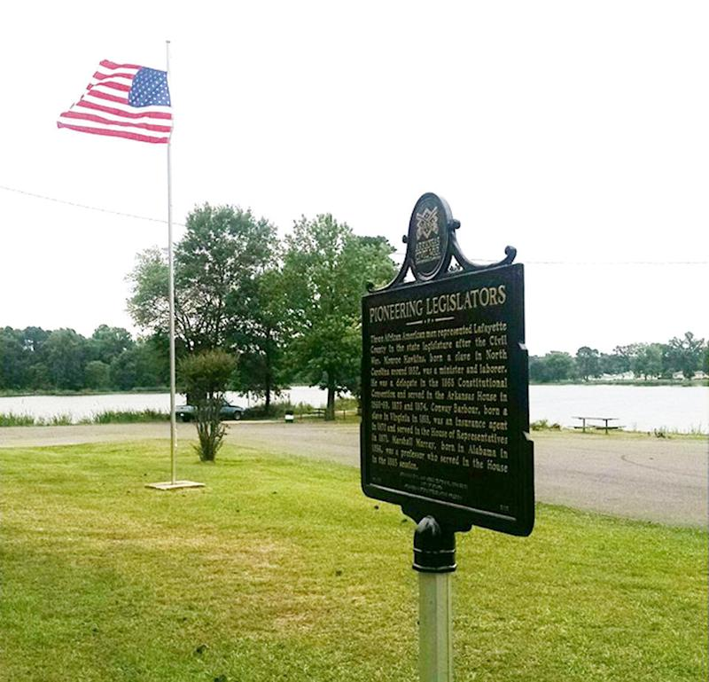 This bronze marker that recognized the lives of three African American legislators was stolen from a park in Stamps, Arkansas, last month, police said. (Sparks Arkansas)