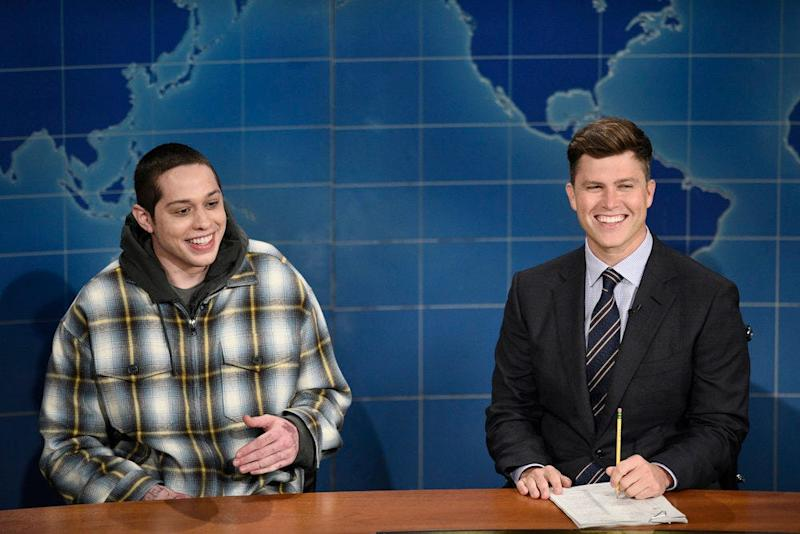 """Pete Davidson and anchor Colin Jost during """"Weekend Update"""" on Saturday, October 10, 2020."""