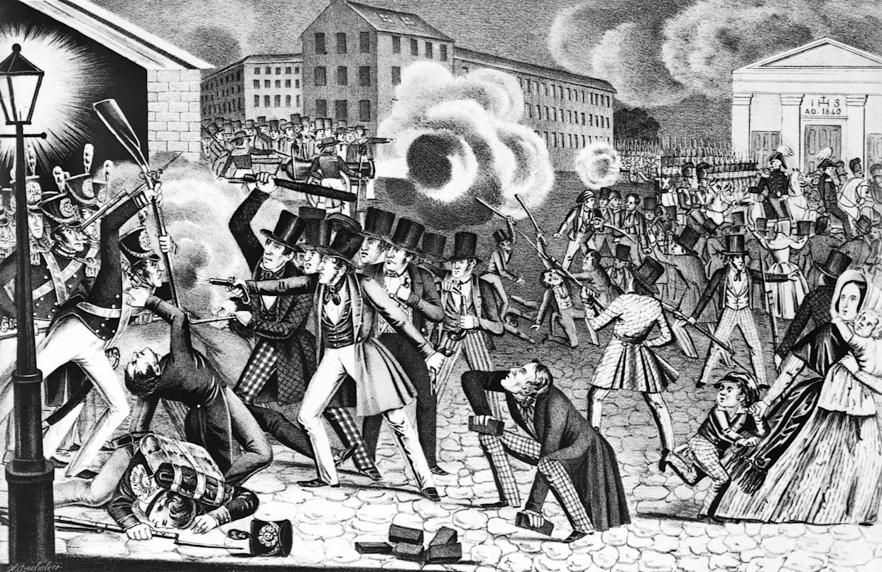 """An illustration showcases anti-Catholic riots in Philadelphia in 1844.<a href=""""http://www.phillymag.com/news/2015/12/17/philadelphia-anti-catholic-riots-1844/"""" rel=""""nofollow noopener"""" target=""""_blank"""" data-ylk=""""slk:Irish Catholic immigration to Philadelphia"""" class=""""link rapid-noclick-resp""""> Irish Catholic immigration to Philadelphia</a> boomed between 1830 and 1850. A rumor began spreading in the city that Catholics were trying to remove the Bible from public schools. Nativists in the city were furious and the tensions soon spilled out into riots.&nbsp; (Photo: Bettmann via Getty Images)"""