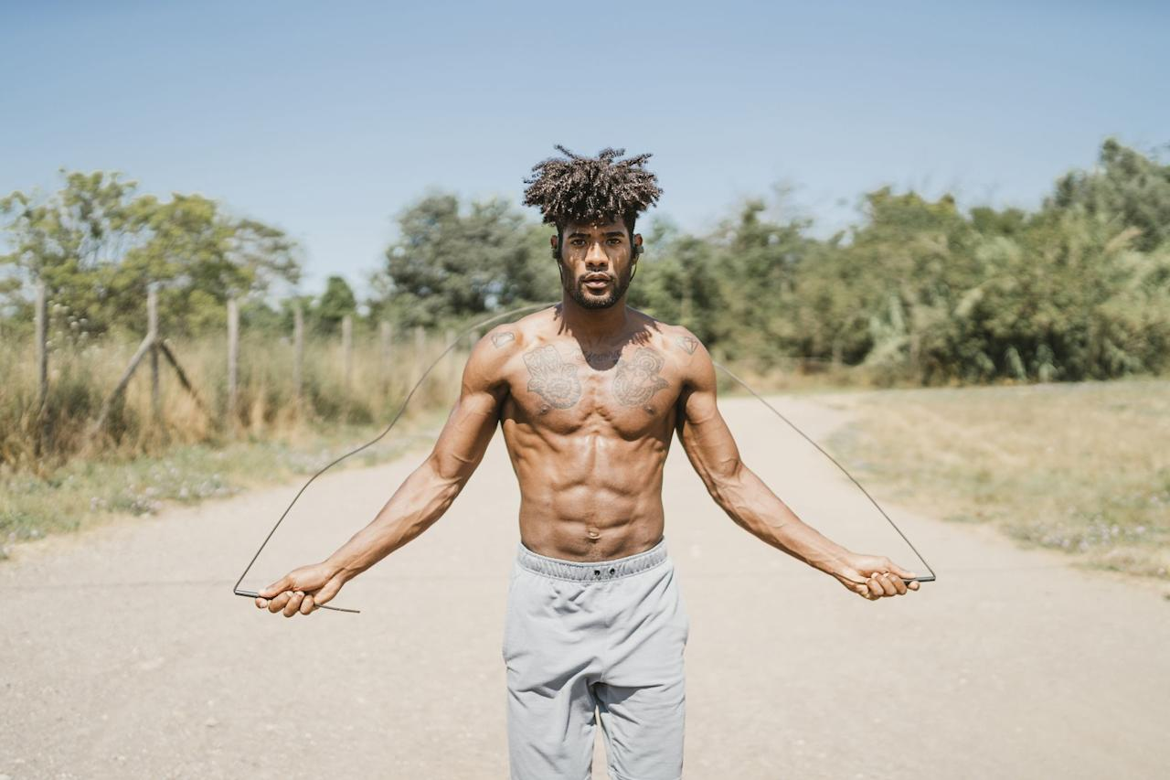 """<p>Ready to blast body fat quick-sharp? In 'Jump-Rope Kalsu', you'll start a running clock and complete 150 <a href=""""https://www.menshealth.com/uk/fitness/a28098210/how-to-double-unders/"""" target=""""_blank"""">double-unders</a> or 300 single-unders with a <a href=""""https://www.menshealth.com/uk/gym-wear/g32824126/best-skipping-rope/"""" target=""""_blank"""">skipping rope</a>. At the start and at the top of each minute thereafter, perform five burpees, jumping laterally over your rope on each rep. </p>"""
