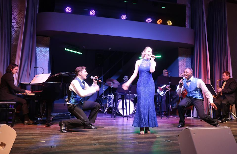 A performance onboard the American Duchess during its cruise in early June 2021 on the Mississippi and Ohio rivers.