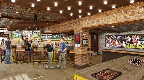 A rendering of the new Playmakers Sports Bar & Arcade