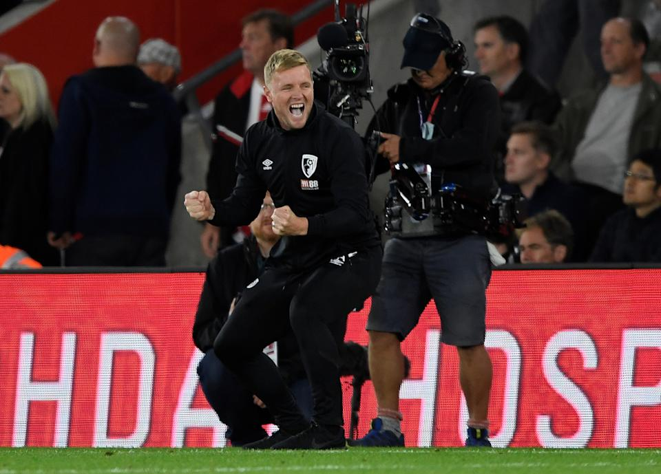 """Soccer Football - Premier League - Southampton v AFC Bournemouth - St Mary's Stadium, Southampton, Britain - September 20, 2019   Bournemouth manager Eddie Howe celebrates after the match     Action Images via Reuters/Tony O'Brien    EDITORIAL USE ONLY. No use with unauthorized audio, video, data, fixture lists, club/league logos or """"live"""" services. Online in-match use limited to 75 images, no video emulation. No use in betting, games or single club/league/player publications.  Please contact your account representative for further details."""