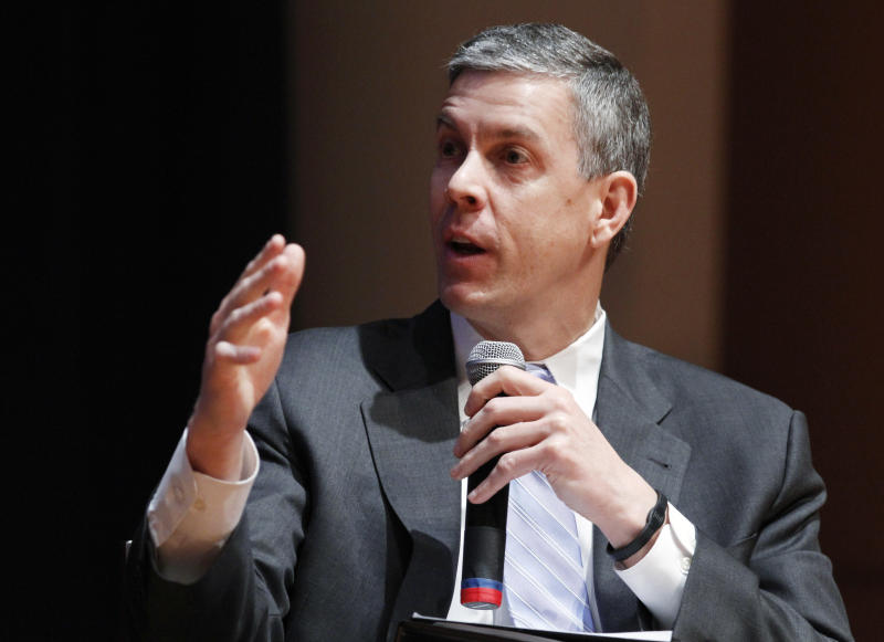 FILE - In this March 2, 2012 file photo, Secretary of Education Arne Duncan speaks during a forum on education at American University in Washington. Five more states have been granted relief from key requirements of the Bush-era No Child Left Behind law, bringing the total to 24 states given waivers, the Education Department said Friday, June 29, 2012. Arkansas, Missouri, South Dakota, Utah and Virginia will be freed from the No Child Left Behind requirement that all students test proficient in math and science by 2014, a goal the nation remains far from achieving. (AP Photo/Jacquelyn Martin, File)