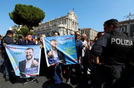 People protest against Italian Interior Minister and leader of the League party Matteo Salvini in Catania