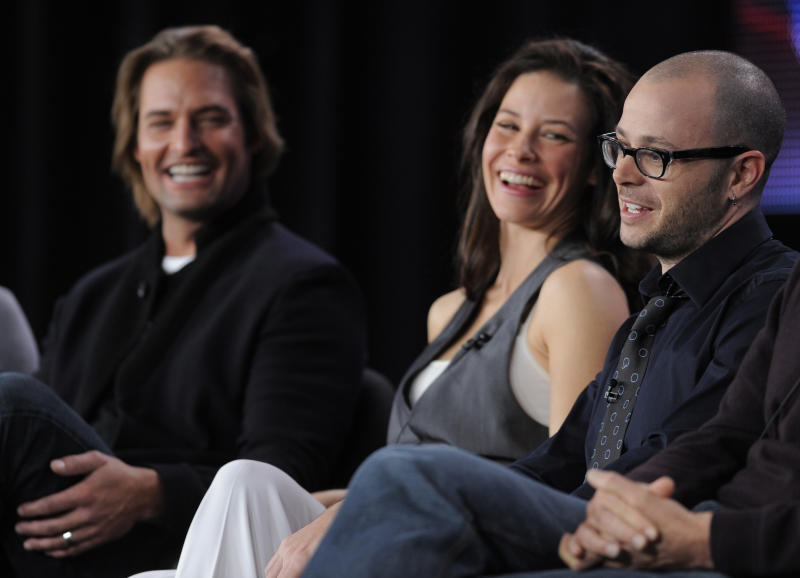 "Damon Lindelof, right, co-creator and executive producer of the television series ""Lost,"" participates in a panel discussion on the show alongside cast members Josh Holloway, left, and Evangeline Lilly at the Disney ABC Television Critics Association winter press tour in Pasadena, Calif., Tuesday, Jan. 12, 2010. (AP Photo/Chris Pizzello)"