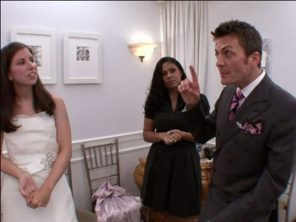 """<p>He's adamant about not conversing with the brides beforehand. Why? So his reaction is authentic. """"I truly believe the audience can tell when it's being faked, and I think that's one of the successes of our show ... it's real. You're seeing my reaction or the consultant's [genuine] reaction,"""" Randy told <a href=""""https://www.goodhousekeeping.com/life/entertainment/a30457738/say-yes-to-the-dress-tlc-behind-the-scenes-secrets/"""" rel=""""nofollow noopener"""" target=""""_blank"""" data-ylk=""""slk:Good Housekeeping"""" class=""""link rapid-noclick-resp"""">Good Housekeeping</a>. </p>"""