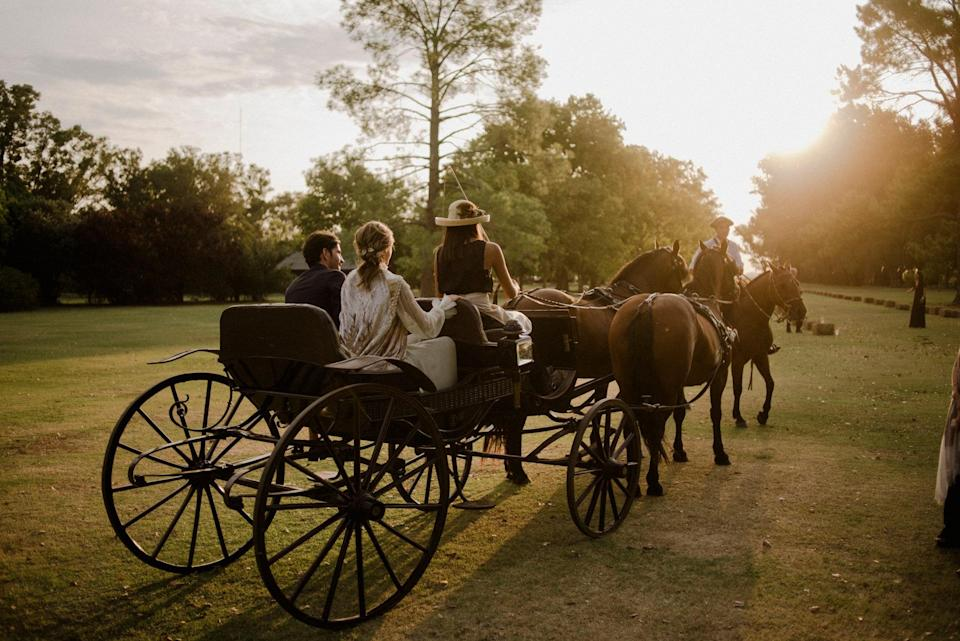 "This Phaeton Siamés carriage from 1895 was manufactured in France by Parisian carriage house Gautier. The day of our wedding, it was handled by Justina Guevara. Fortunately, the sun was everywhere and you could smell the fresh, ""green"" scent of a just-mowed lawn. Memories of my childhood."