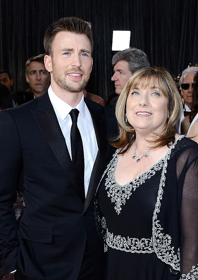HOLLYWOOD, CA - FEBRUARY 24:  Actor Chris Evans and his mother Lisa Evans arrive at the Oscars at Hollywood & Highland Center on February 24, 2013 in Hollywood, California.  (Photo by Michael Buckner/Getty Images)