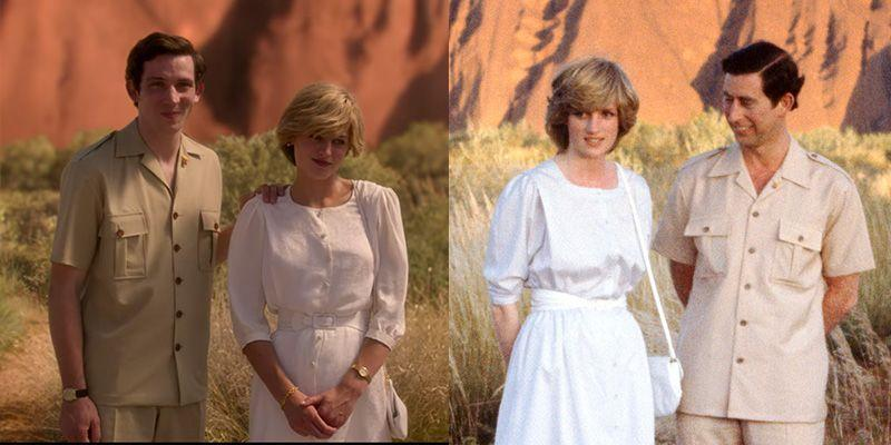 <p>The royal couple looked fashionable on a visit to Australia's Ayers Rock in 1983– both in real life <em>and </em>in the television show. The photograph was hugely popular and as such <em>The Crown </em>sought to replicate Diana's white belted sundress and Prince Charles's tan button down suit exactly. </p>