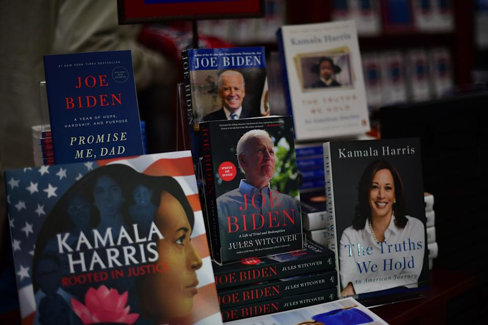 A display of books about President-elect Joe Biden and Vice President-elect Kamala Harris at the University of Pennsylvania bookstore