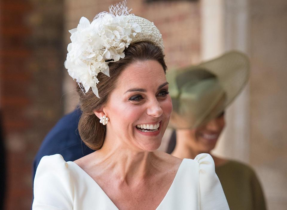 The Duchess of Cambridge looks to Alexander McQueen for the third time at Prince Louis' christening [Photo: Getty]