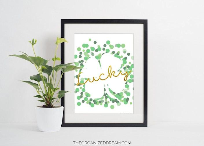 """<p>Thanks to the intriguing use of negative space, this almost looks more like a painting than it does a free printable.</p><p><strong>Get the printable at <a href=""""https://theorganizeddream.com/free-st-patricks-day-lucky-printable/"""" rel=""""nofollow noopener"""" target=""""_blank"""" data-ylk=""""slk:Organized Dream"""" class=""""link rapid-noclick-resp"""">Organized Dream</a>.</strong></p><p><strong><a class=""""link rapid-noclick-resp"""" href=""""https://go.redirectingat.com?id=74968X1596630&url=https%3A%2F%2Fwww.walmart.com%2Fsearch%2F%3Fquery%3Dprinter%2Bink&sref=https%3A%2F%2Fwww.thepioneerwoman.com%2Fhome-lifestyle%2Fcrafts-diy%2Fg34931626%2Fst-patricks-day-decorations%2F"""" rel=""""nofollow noopener"""" target=""""_blank"""" data-ylk=""""slk:SHOP PRINTERS INK"""">SHOP PRINTERS INK</a><br></strong></p>"""