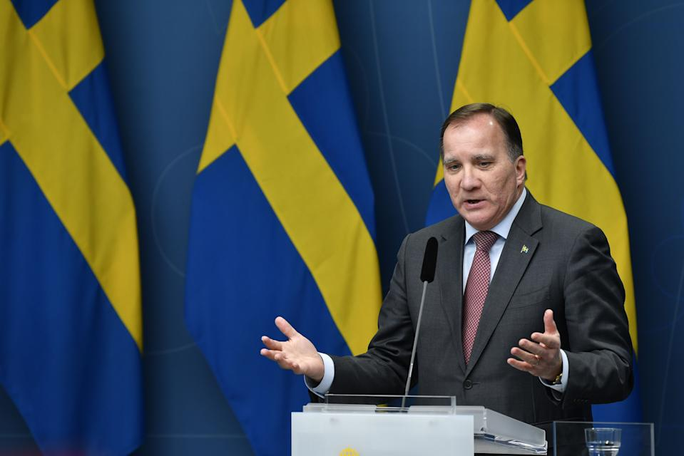 Sweden's Prime Minister Stefan Lofven gives a press conference on the new restrictions to curb the spread of the corona (Covid-19) pandemic, in Stockholm on November 11, 2020. - The Swedish government proposes an alcohol sale stop after 10 pm from November 20 until the end of February 2021. (Photo by Henrik MONTGOMERY / TT News Agency / AFP) / Sweden OUT (Photo by HENRIK MONTGOMERY/TT News Agency/AFP via Getty Images)