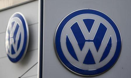 Logos of VW are pictured at a car shop in Bad Honnef