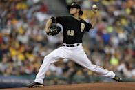 Pittsburgh Pirates starting pitcher Jeff Locke delivers during the first inning of a baseball game against the St. Louis Cardinals in Pittsburgh on Wednesday, July 31, 2013. (AP Photo/Gene J. Puskar)
