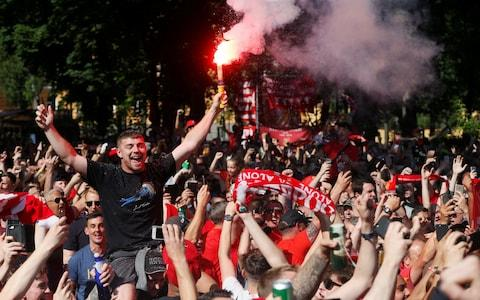 Liverpool favour flares in Ukraine on Saturday afternoon - Credit: VALENTYN OGIRENKO/Reuters