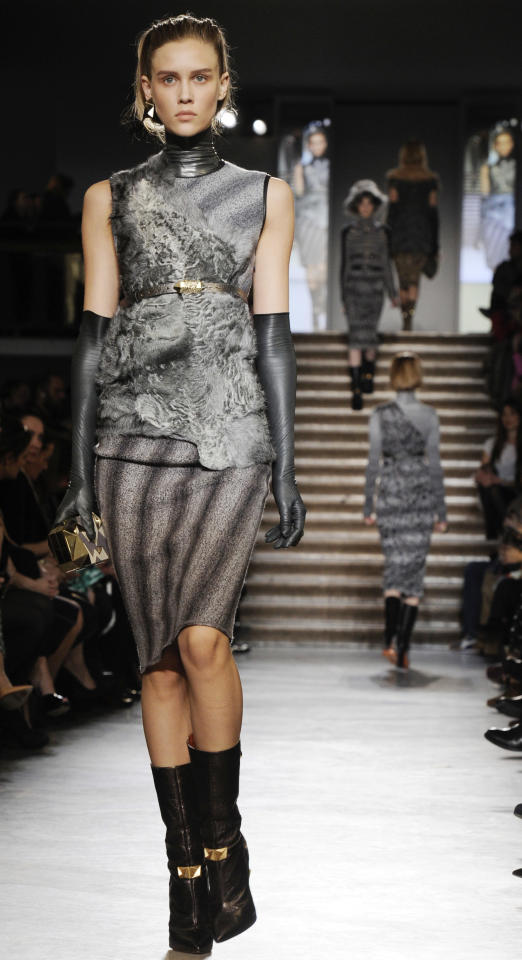 A model shows a creation part of the Missoni women's Fall-Winter 2012-13 fashion collection, presented in Milan, Italy, Sunday, Feb. 26, 2012. (AP Photo/Giuseppe Aresu)
