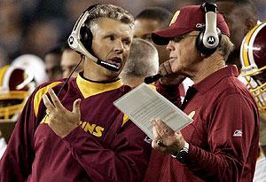 Gregg Williams with then-Redskins coach Joe Gibbs in 2006