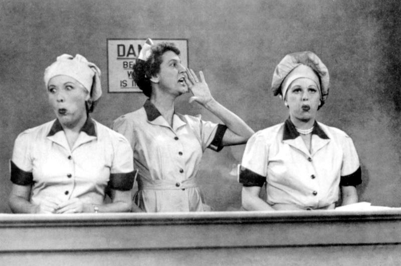 I LOVE LUCY, Vivian Vance, Elvia Allman, Lucille Ball, 2nd season episode, 'Job Switching', aired on September 15, 1952. | Courtesy Everett Collection—Courtesy Everett Collection