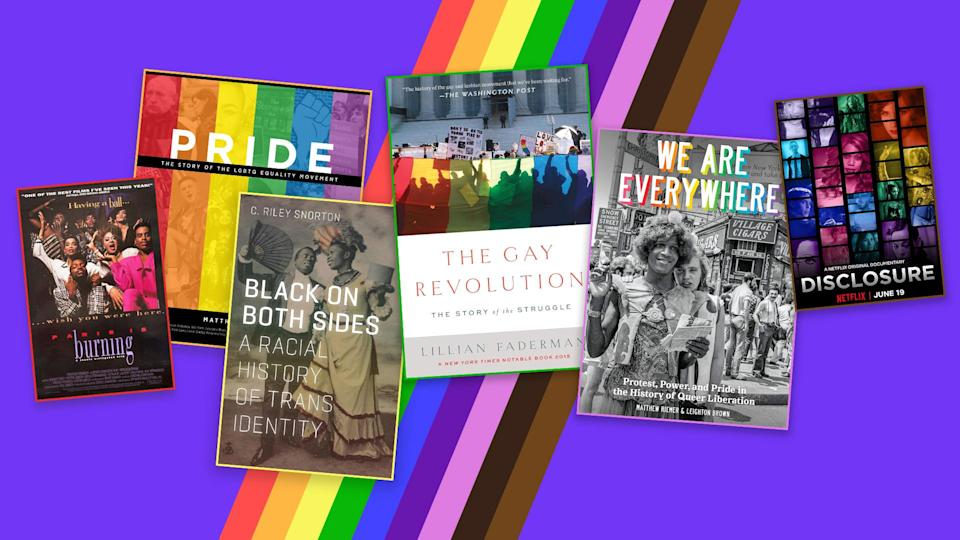 The films <em>Paris Is Burning</em> and <em>Disclosure</em> (far left and far right) and books <em>Pride, Black on Both Sides, The Gay Revolution</em> and <em>We Are Everywhere </em>offer lessons on LGBTQ history. (Image by Quinn Lemmers for Yahoo Life)