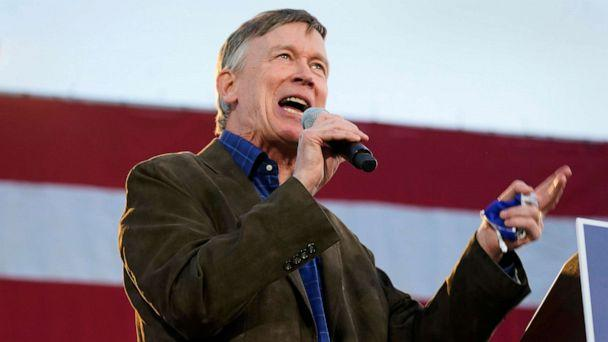 PHOTO: John Hickenlooper, Democratic candidate for the U.S. Senate seat in Colorado, speaks during a car rally in Denver, Oct. 8, 2020. (David Zalubowski/AP, FILE)