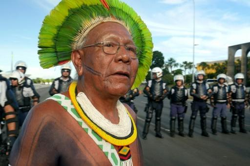 The threat posed to indigenous communities by the coronavirus was highlighted by the death of Brazilian chief Paulinho Paiakan (pictured 2017), an iconic defender of the Amazon rainforest