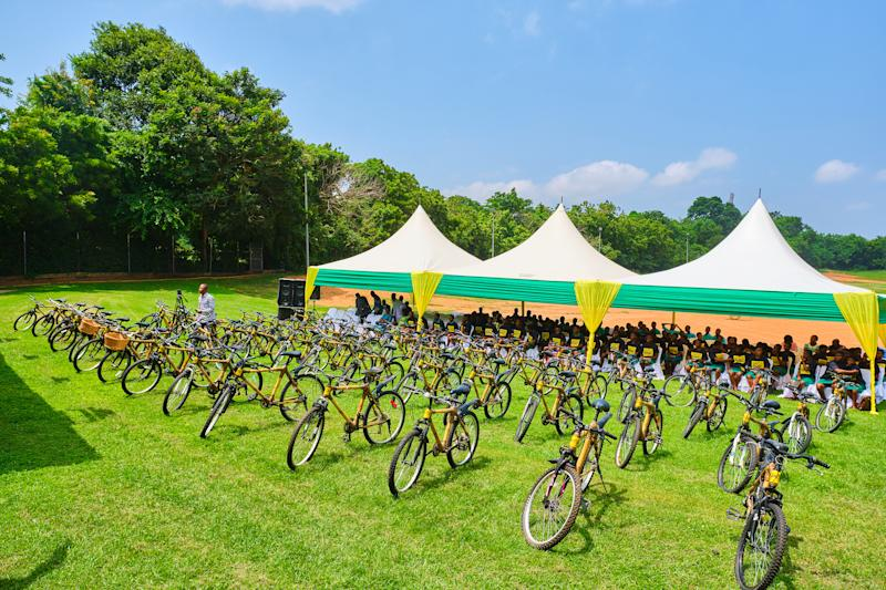 "Display of bamboo bicycles and 85 student-recipients from Ningo-Prampram School District, recently, at the start of the African Bicycle Contribution Foundation's ""500th Bicycle"" event, in Accra."