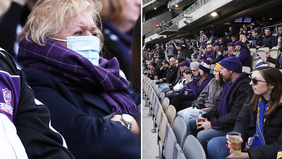 AFL fans, pictured here at Optus Stadium for West Coast's clash with Fremantle.