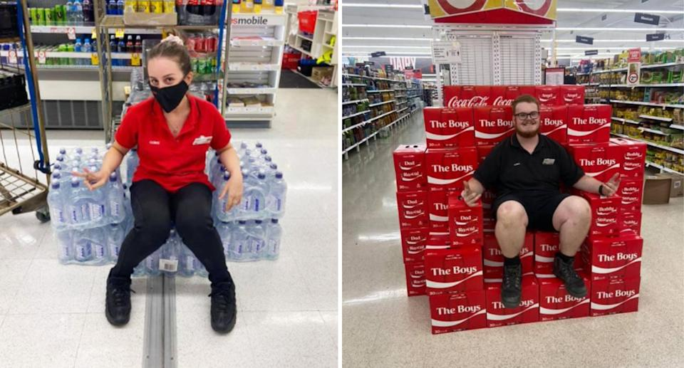 Two Coles employees sitting on water bottles (left) and Coca-Cola cans (right) shaped into a throne.