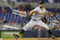 Pittsburgh Pirates relief pitcher Chasen Shreve throws during the ninth inning of the team's baseball game against the Miami Marlins, Saturday, Sept. 18, 2021, in Miami. The Pirates won 6-3. (AP Photo/Marta Lavandier)