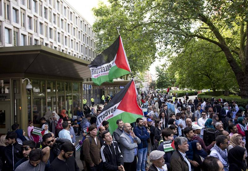 Pro-Palestinian BDS movement supporters take part in a rally in central London (PA)