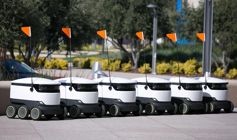 starship delivery robots line up