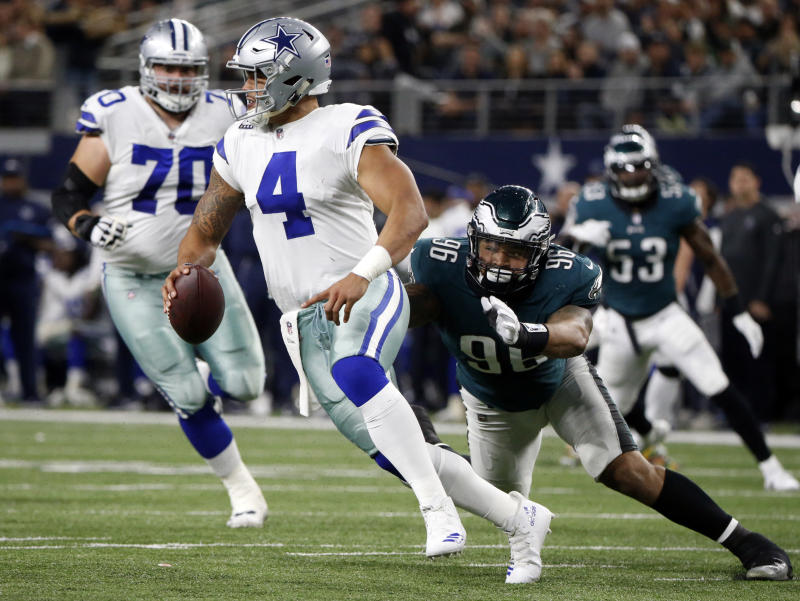 Dallas Cowboys quarterback Dak Prescott had a rough night against the Eagles in a blowout loss. (AP)