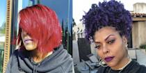 """<p>The actress switched up her fiery red bob for a head of deep purple curls just in time for the new year. Henson matched her new blackcurrant curls with colour co-ordinated eyebrows, eyeshadow and lipstick and captioned her new look selfie: 'New Year New Color 💜💜💜 <a href=""""https://www.instagram.com/explore/tags/2021/"""" rel=""""nofollow noopener"""" target=""""_blank"""" data-ylk=""""slk:#2021"""" class=""""link rapid-noclick-resp"""">#2021</a> the year of royalty. So blessed with my <a href=""""https://www.instagram.com/sisterlovemjb/"""" rel=""""nofollow noopener"""" target=""""_blank"""" data-ylk=""""slk:@sisterlovemjb"""" class=""""link rapid-noclick-resp"""">@sisterlovemjb</a> ensemble!!!! <a href=""""https://www.instagram.com/tphbytaraji/"""" rel=""""nofollow noopener"""" target=""""_blank"""" data-ylk=""""slk:@tphbytaraji"""" class=""""link rapid-noclick-resp"""">@tphbytaraji</a> <a href=""""https://www.instagram.com/explore/tags/hairchameleon/"""" rel=""""nofollow noopener"""" target=""""_blank"""" data-ylk=""""slk:#hairchameleon"""" class=""""link rapid-noclick-resp"""">#hairchameleon</a> 🙏🏾🙏🏾🙏🏾💋💋💋'</p>"""