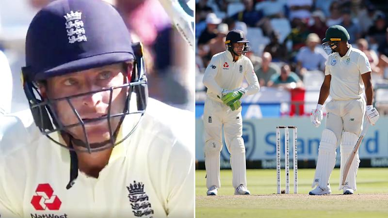 Seen here, Jos Buttler was caught giving a foul-mouthed tirade to Vernon Philander in the second Test.