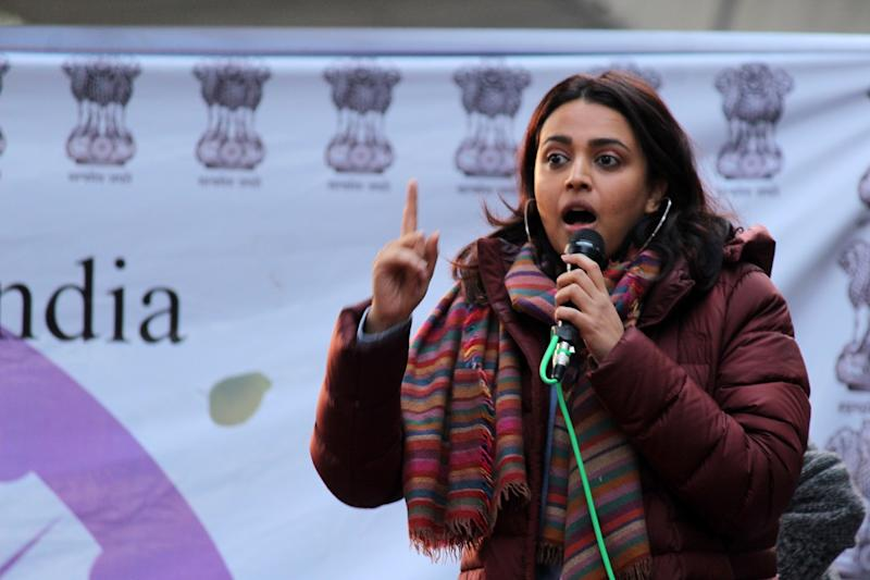 Actor Swara Bhaskar joined hundreds of students and locals from Zakir Nagar, Shaheen Bagh and Batla House, who had gathered at Jamia Millia Islamia on the afternoon of January 01, 2020 for the 'Artists in Solidarity with Jamia' protest against the government's Citizenship Amendment Bill (CAB) and National Register of Citizens (NRC) at JMI University in New Delhi, India. (Photo by Mayank Makhija/NurPhoto via Getty Images)