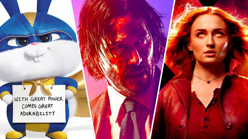 The Secret Life Of Pets 2, John Wick 3 and Dark Phoenix (credit Universal, Lionsgate, Fox)