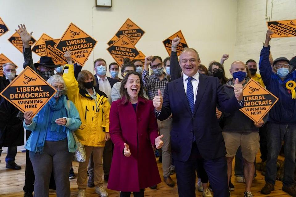 Liberal Democrat leader Sir Ed Davey and MP for Chesham and Amersham, Sarah Green (Steve Parsons/PA) (PA Wire)