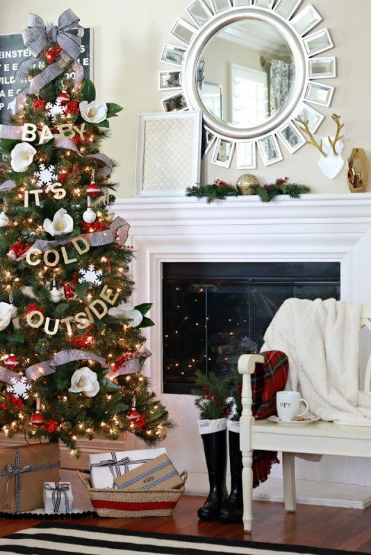 """<p>Hang your favorite Christmas carol with a custom garland, made with glittery letters and red ribbon. </p><p><em><a href=""""http://www.athoughtfulplaceblog.com/dream-tree-challenge-baby-its-cold/"""" rel=""""nofollow noopener"""" target=""""_blank"""" data-ylk=""""slk:See more at A Thoughtful Place »"""" class=""""link rapid-noclick-resp"""">See more at A Thoughtful Place »</a></em></p>"""