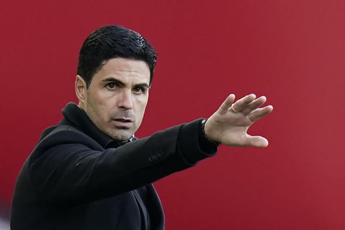 Arsenal's manager Mikel Arteta gestures during an English Premier League soccer match between Sheffield United and Arsenal at the Bramall Lane stadium in Sheffield, England, Sunday, April 11, 2021. (AP Photo/Tim Keeton, Pool)