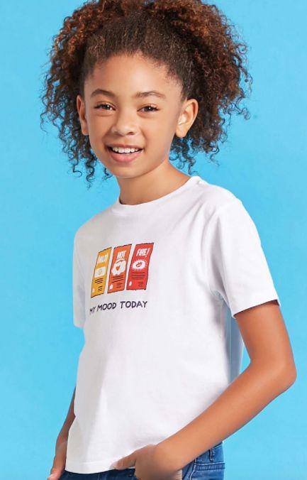 """Girls Taco Bell hot sauce tee, <a href=""""https://www.forever21.com/us/shop/Catalog/Product/f21/promo-taco-bell-collection/2000212042"""" target=""""_blank"""">$10.90 at Forever 21</a>"""