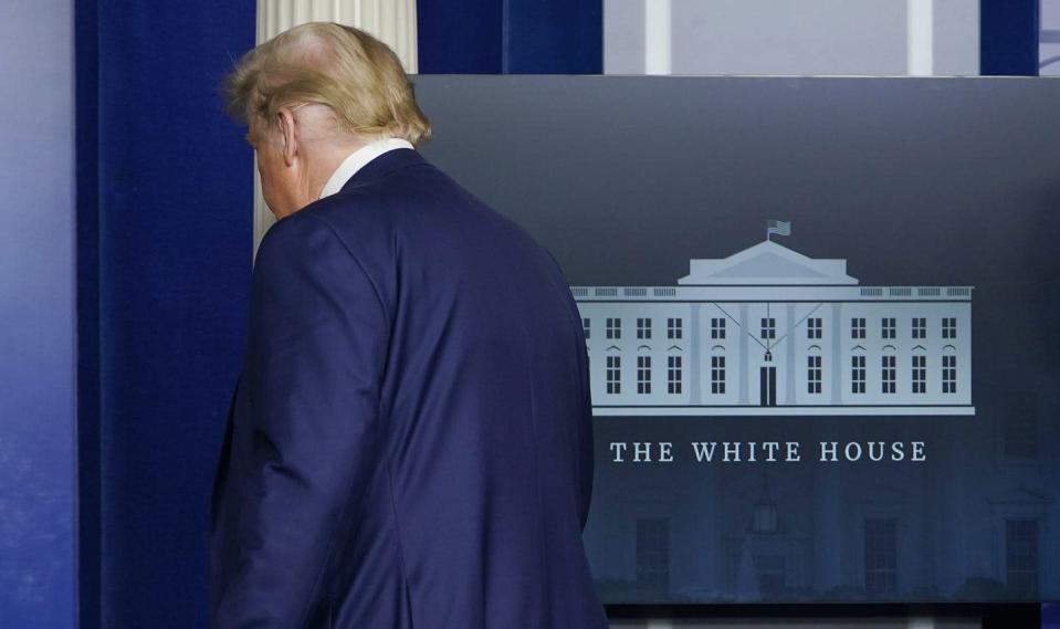 """<span class=""""caption"""">U.S. President Donald Trump walks out after speaking in the Brady Briefing Room in the White House in November 2020, three weeks after he lost the election.</span> <span class=""""attribution""""><span class=""""source"""">(AP Photo/Susan Walsh)</span></span>"""