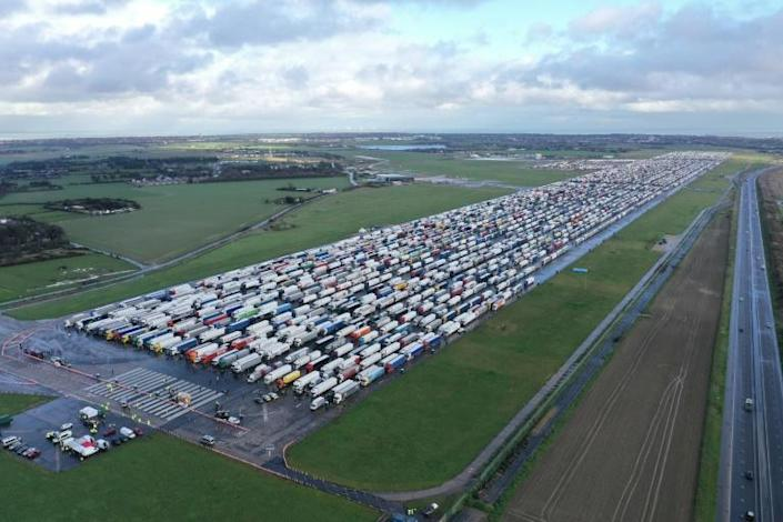 Thousands of trucks were parked on tarmacs at Manston airport near Ramsgate, southeast England, while waiting for Covid-19 tests to cross the Channel for France.