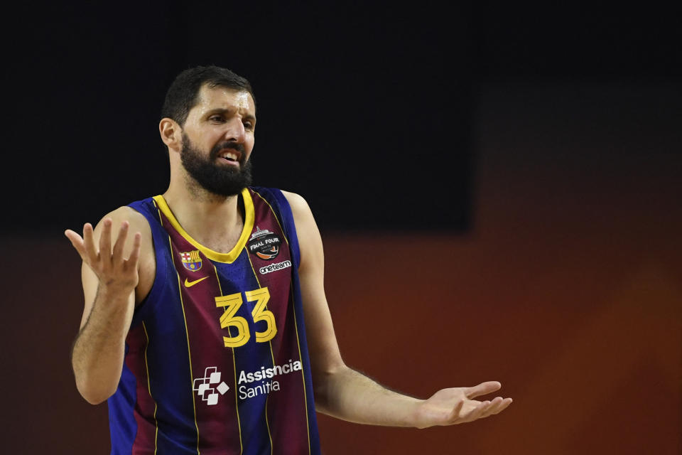 FC Barcelona's Nikola Mirotic reacts during the Basketball Euroleague Final Four championship final match between FC Barcelona and Anadolu Efes Istanbul in Cologne, western Germany, on May 30, 2021. (Photo by Ina Fassbender / AFP) (Photo by INA FASSBENDER/AFP via Getty Images)