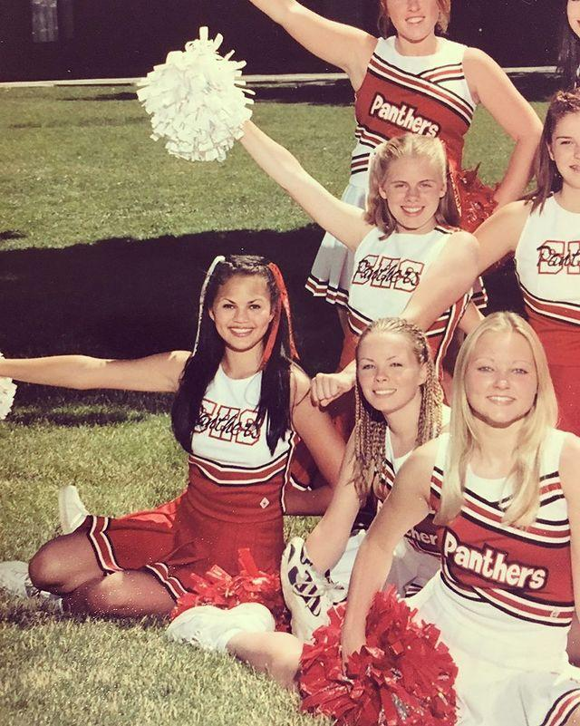 """<p>The model and entrepreneur celebrated watching Netflix's Cheer with this TBT of herself on the cheer squad in high school.</p><p>'Got me reminiscing about how I sucked at cheerleading almost as much as I sucked at doing my brows. Truly no idea how I made this team,' the ever self-deprecating star commented. </p><p><a href=""""https://www.instagram.com/p/B7UO3S3JhVI/"""" rel=""""nofollow noopener"""" target=""""_blank"""" data-ylk=""""slk:See the original post on Instagram"""" class=""""link rapid-noclick-resp"""">See the original post on Instagram</a></p>"""